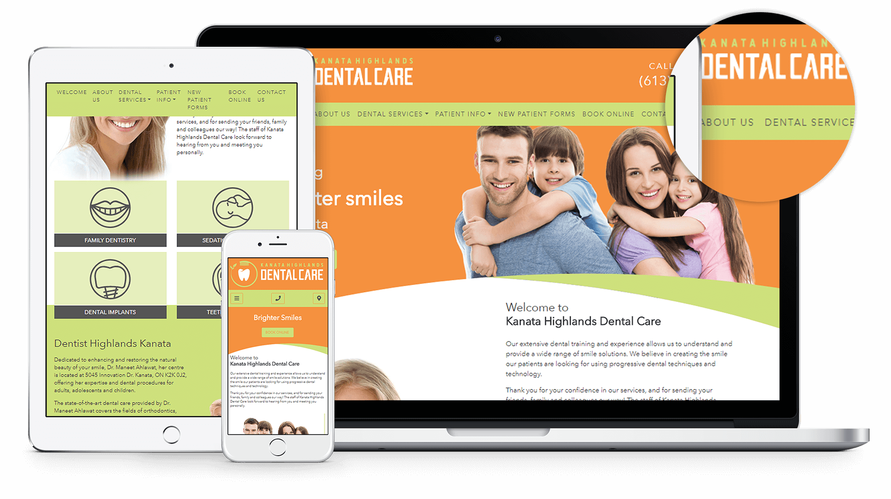 New website design for Kanata Highlands Dental Care