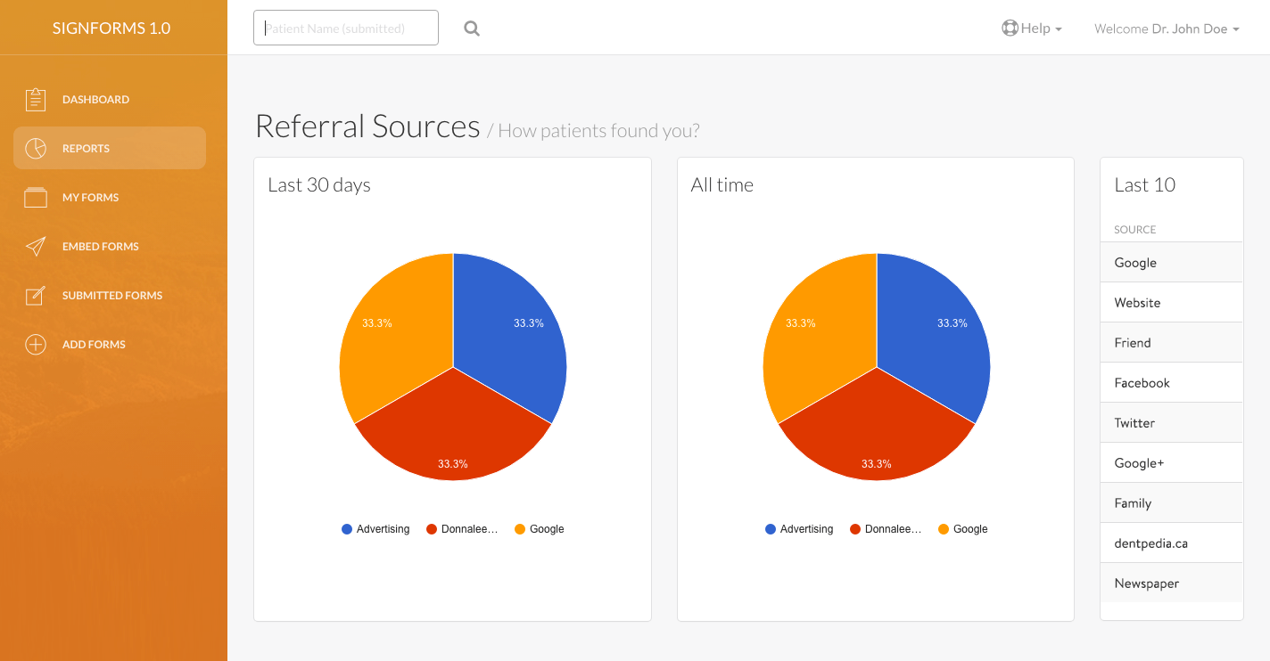 Reports - Referral Sources